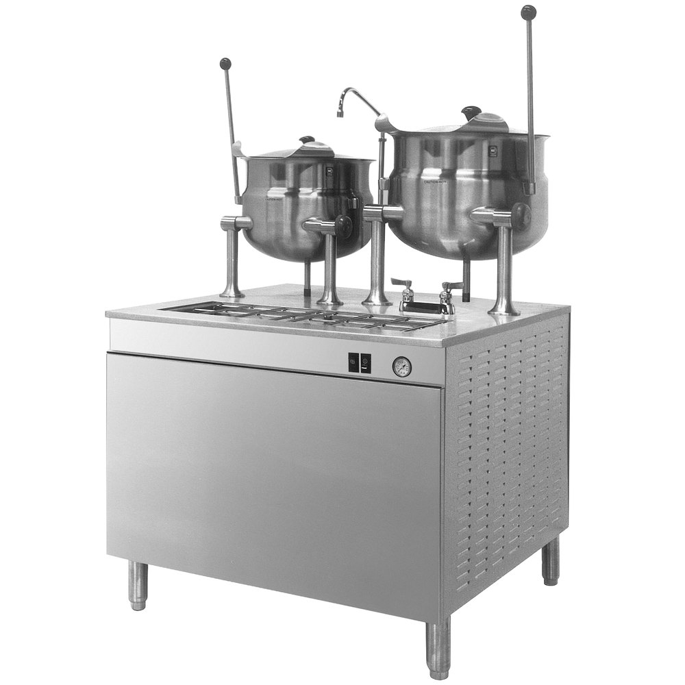 Cleveland 36-DM-K610 6 and 10 Gallon Tilting 2/3 Steam Jacketed Direct Steam Kettles with Modular Base