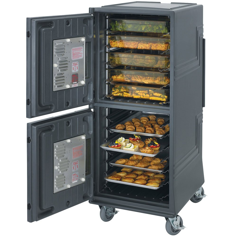 Cambro CMBPHSP615 Charcoal Gray Electric Combo Cart Plus with Security Package and Standard Casters - 110V