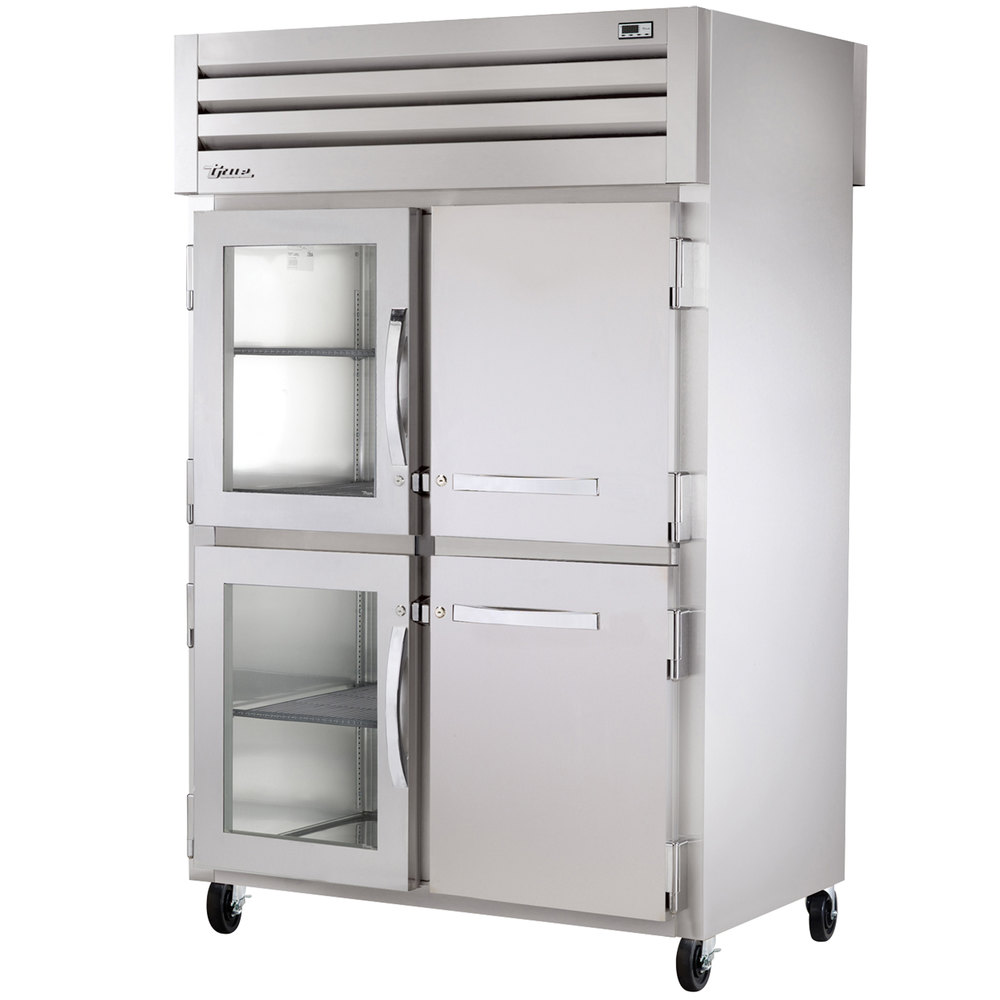 True STG2RPT-2HG/2HS-2G Specification Series Two Section Pass-Through Refrigerator with Solid and Glass Front Half Doors and Glass Rear Doors - 56 Cu. Ft.