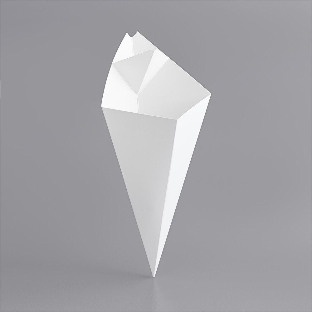 Carnival King 15 oz. White Square Cardboard Fry Cone - 500/Case
