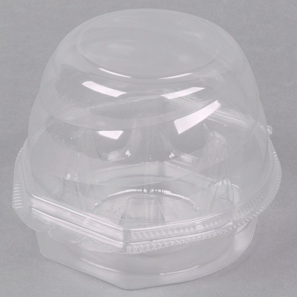 Swirl Dome 1 Compartment Hinged Clear Cupcake Container