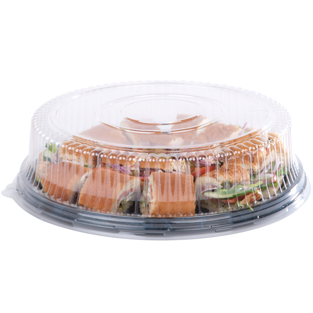 "Sabert 5516 16"" Clear Dome Lid for Round Catering Tray - 36/Case"