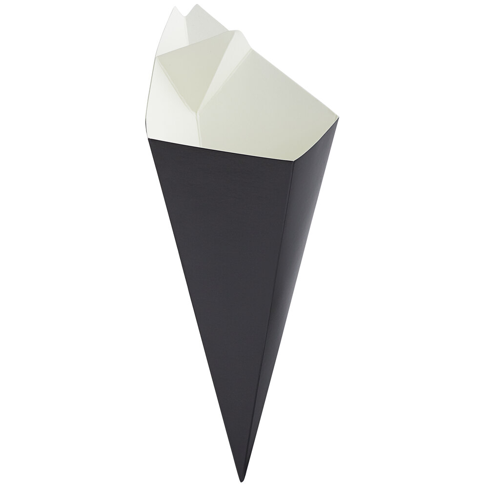 Carnival King 10 oz. Black Square Cardboard Fry Cone - 100/Pack