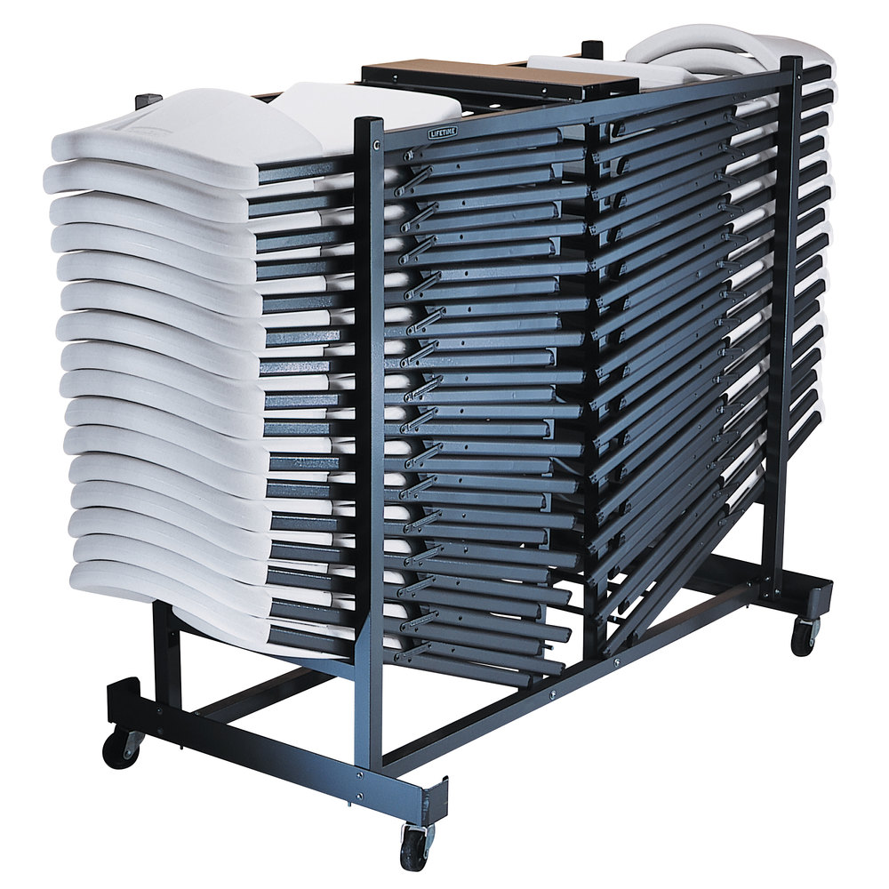 Lifetime 6525 storage rack folding chair cart for Chair with storage