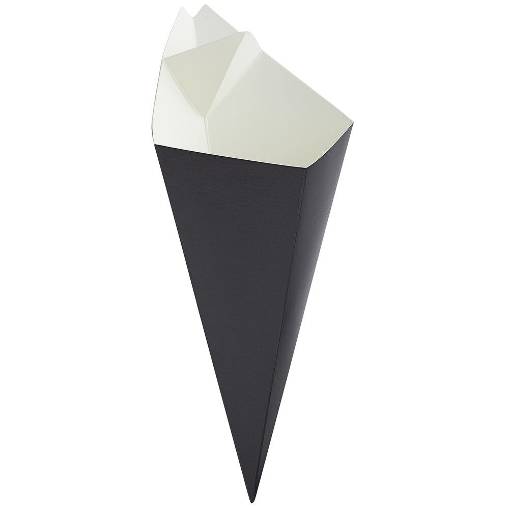 Carnival King 10 oz. Black Square Cardboard Fry Cone - 500/Case