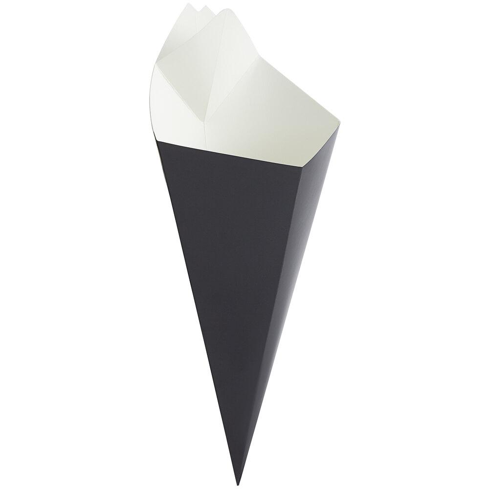 Carnival King 20 oz. Black Square Cardboard Fry Cone - 100/Pack