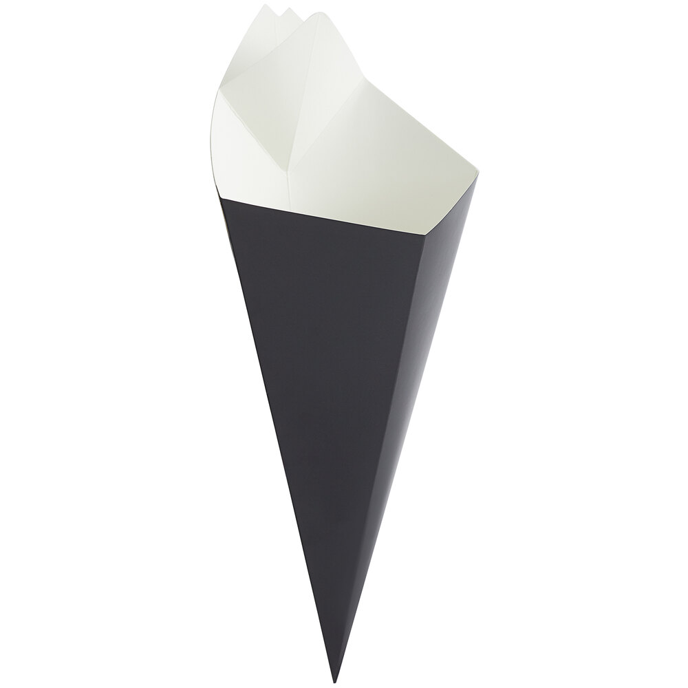 Carnival King 20 oz. Black Square Cardboard Fry Cone - 500/Case