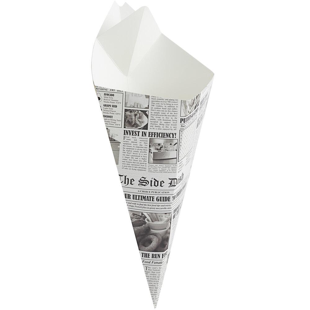 Carnival King 20 oz. News Print Square Cardboard Fry Cone - 500/Case