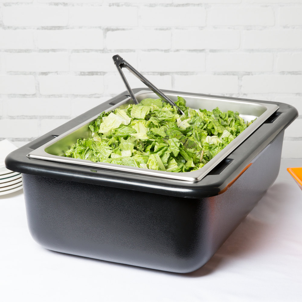 "Carlisle CM104203 Coldmaster Full Size Black Cold Food Pan Holder - 6"" Deep"