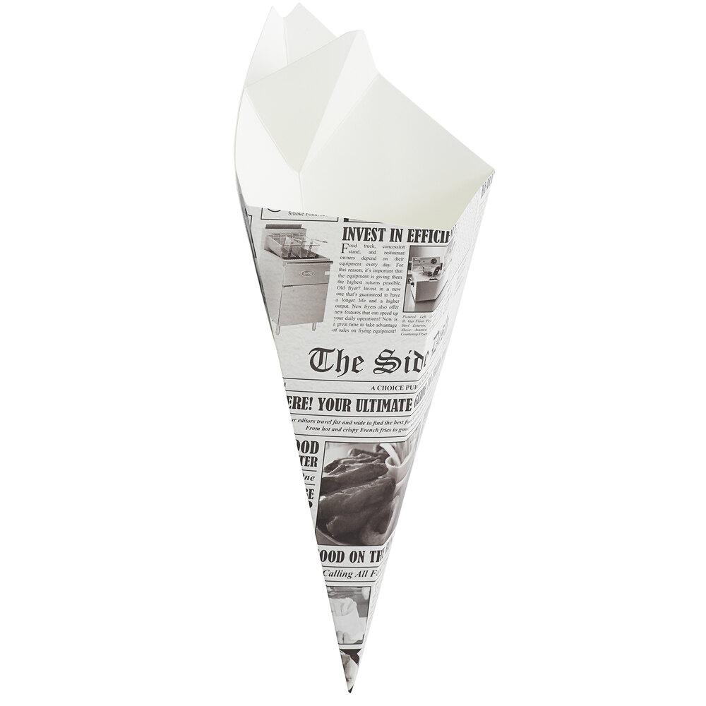 Carnival King 15 oz. News Print Square Cardboard Fry Cone - 500/Case