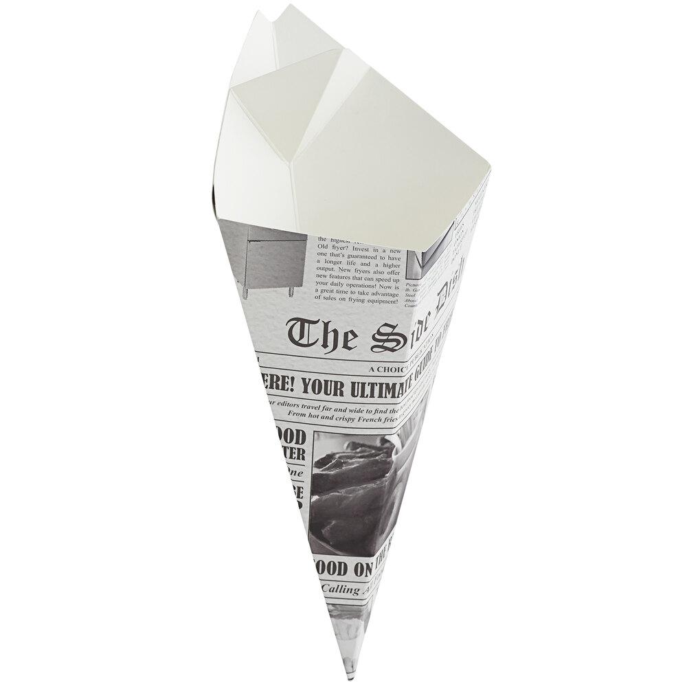 Carnival King 10 oz. News Print Square Cardboard Fry Cone - 500/Case