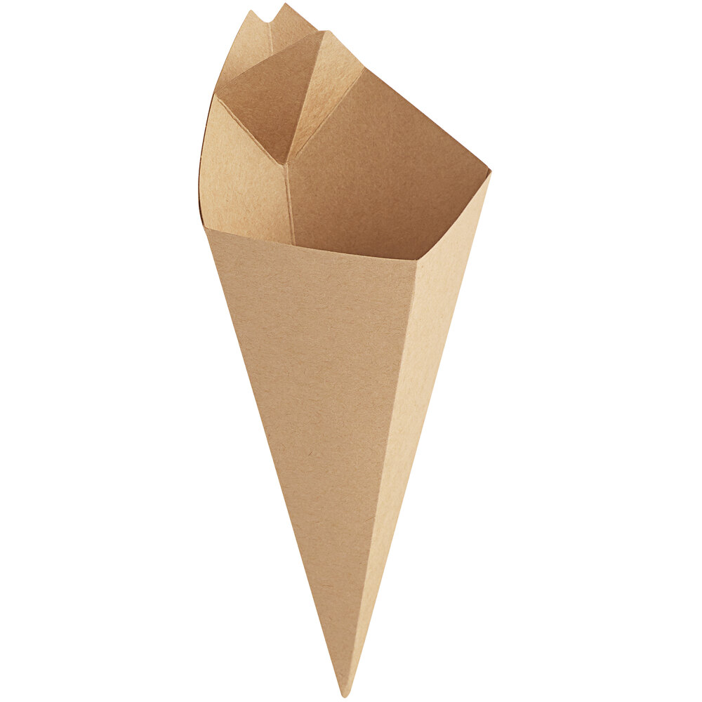 Carnival King 10 oz. Kraft Square Cardboard Fry Cone - 500/Case