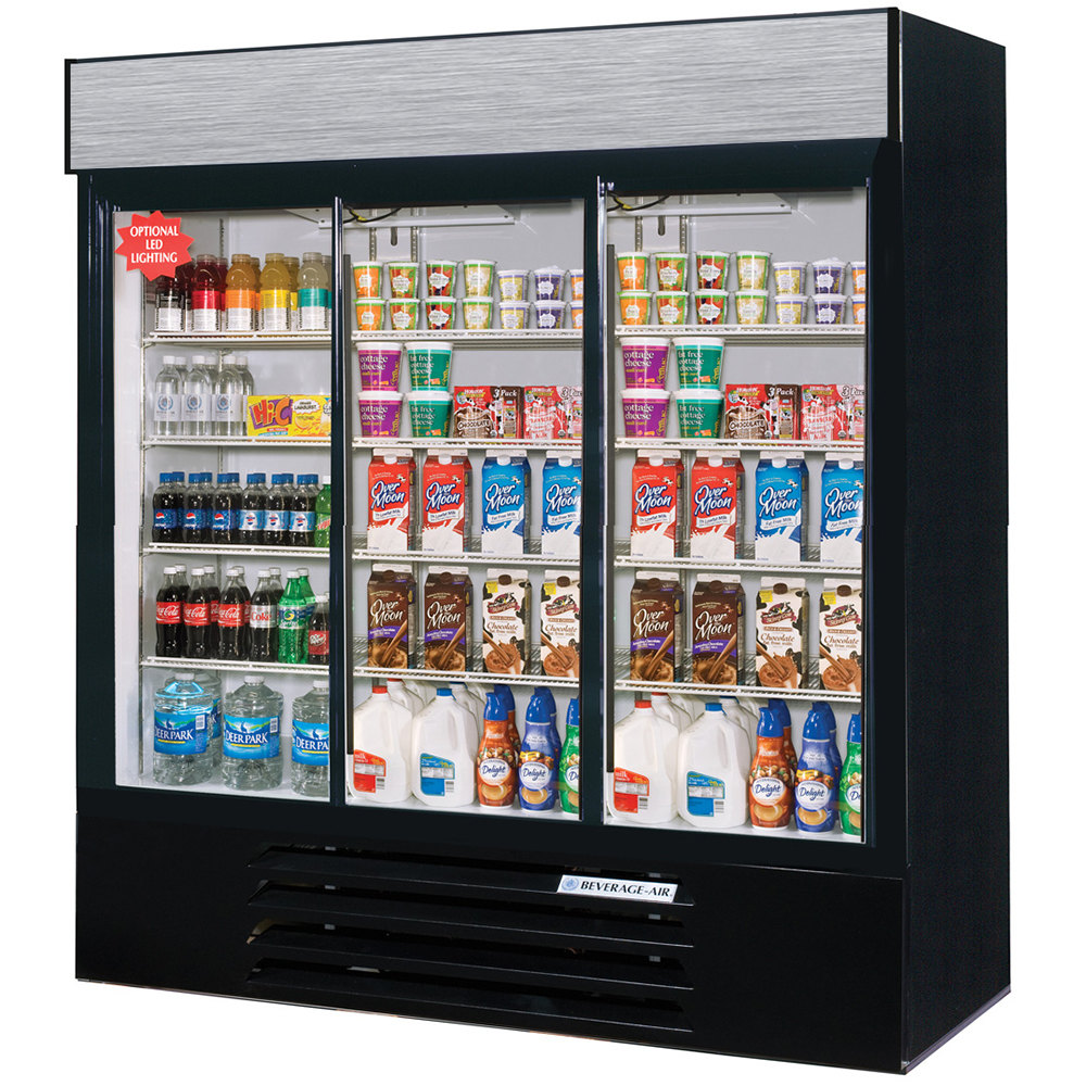 "Beverage Air LV66Y-1-B-LED LumaVue 75"" Three Section Glass Door Black Merchandising Refrigerator with LED Lighting- 70 Cu. Ft."