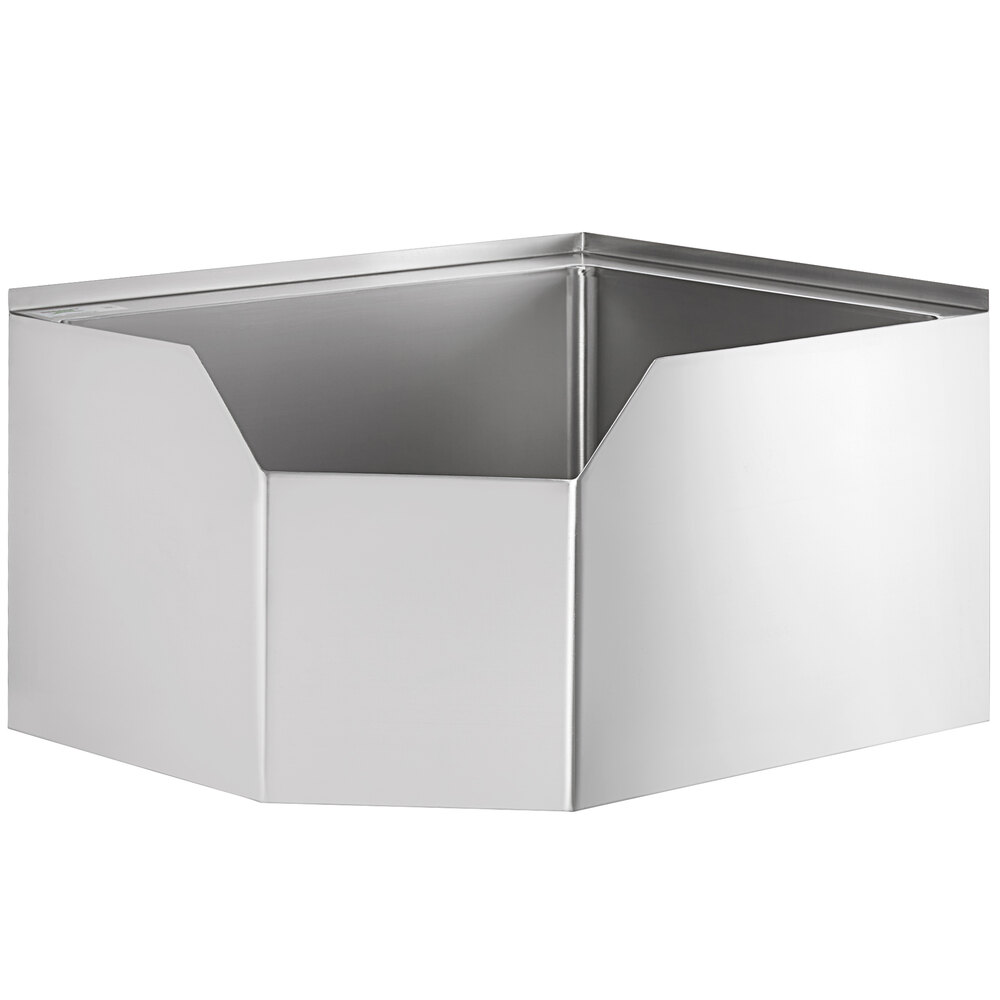 Regency 16-Gauge Stainless Steel One Compartment Corner Mop Sink with Notched Front - 28 inch x 20 inch x 12 inch Bowl