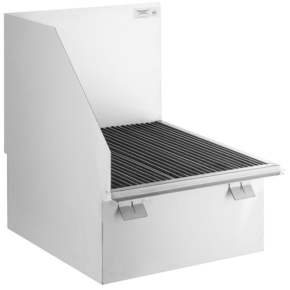 Regency 16-Gauge 304 Stainless Steel Floor Mounted Mop Sink with Left Side Splash Guard - 22 inch x 21 3/8 inch x 10 inch Bowl