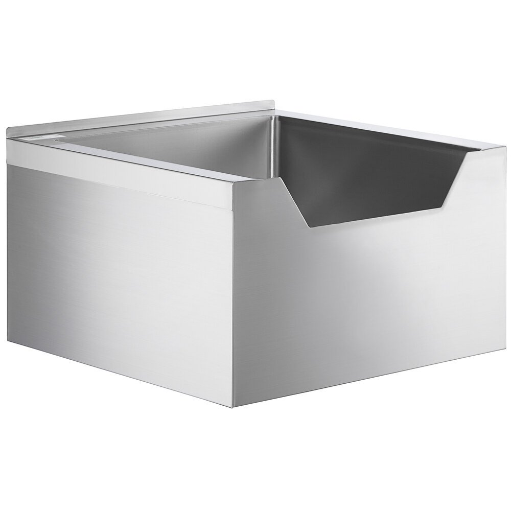 Regency 16-Gauge Stainless Steel One Compartment Floor Mop Sink with Notched Front - 24 inch x 24 inch x 12 inch Bowl