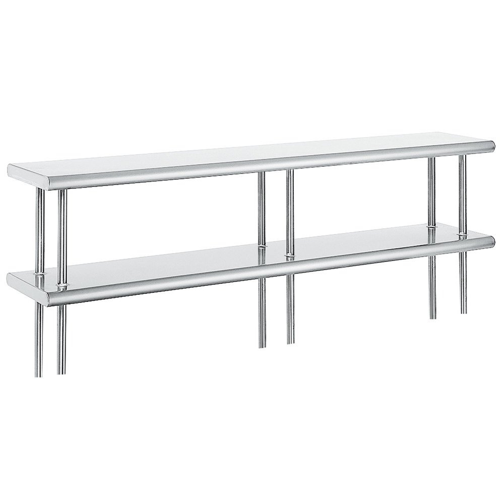 "Advance Tabco ODS-12-132 12"" x 132"" Table Mounted Double Deck Stainless Steel Shelving Unit"