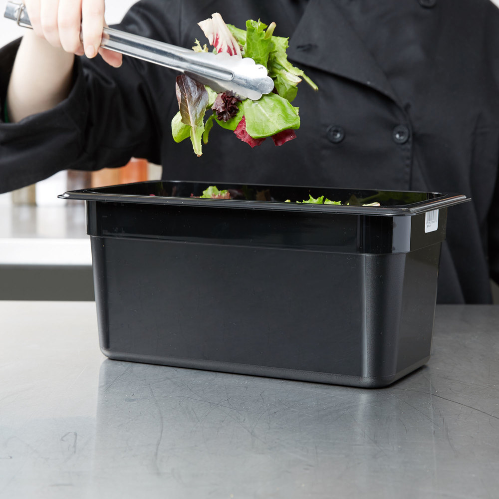 "Cambro 36CW110 Camwear 1/3 Size Black Food Pan - 6"" Deep"