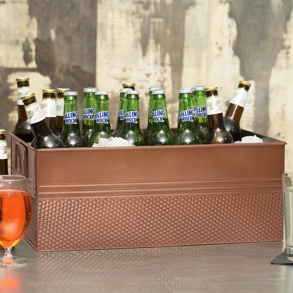 "American Metalcraft BEV1220 Full Size Copper Rectangular Hammered Beverage Tub - 20 1/2"" x 12 1/2"" x 8"""