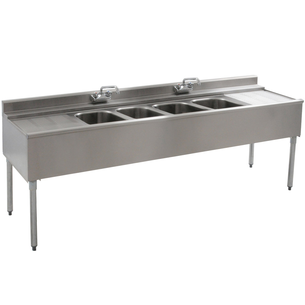 Eagle Group B7C-4-22 Underbar Sink with Four Compartments, Two Drainboards, and Two Faucets - 84""