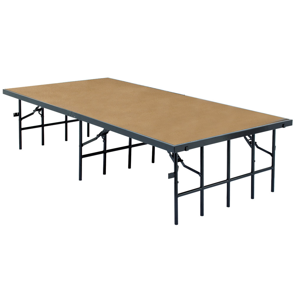 "National Public Seating S4816HB Single Height Hardboard Portable Stage - 48"" x 96"" x 16"""
