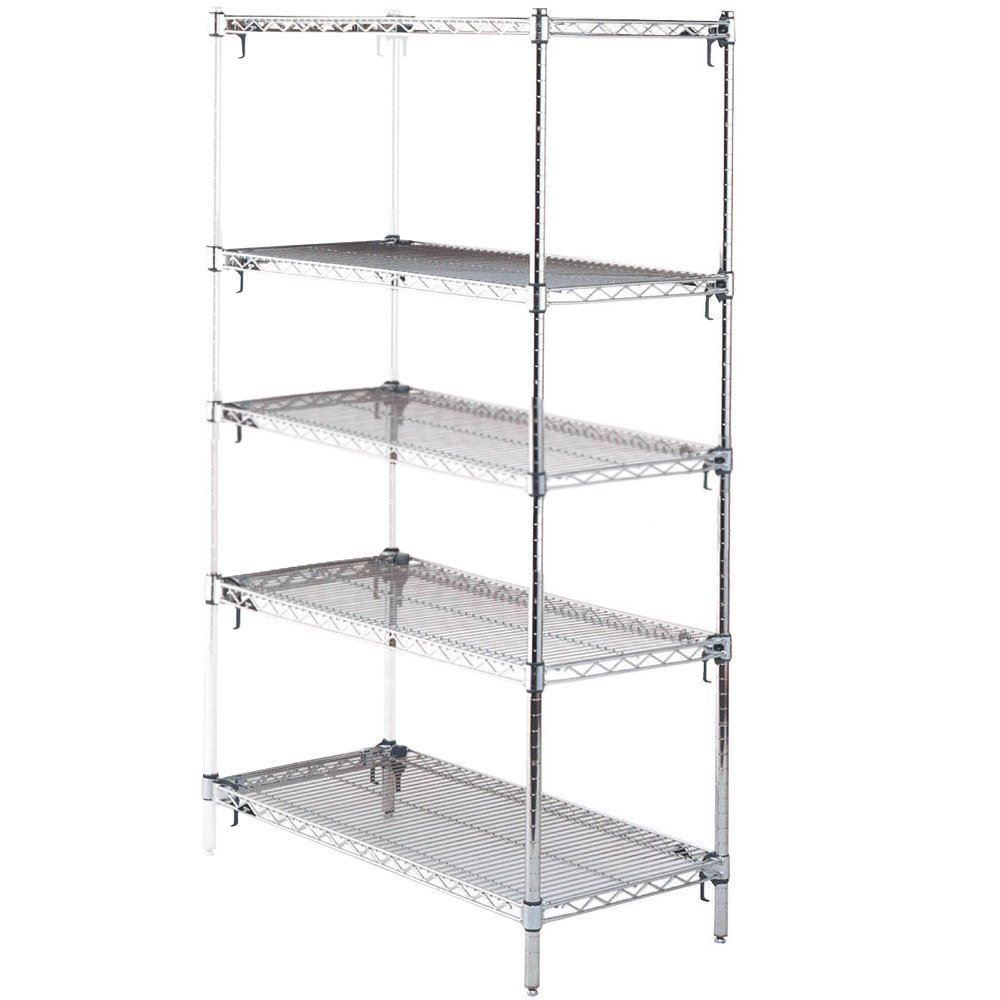 "Metro 5AA437C Stationary Super Erecta Adjustable 2 Series Chrome Wire Shelving Add On Unit - 21"" x 36"" x 74"""
