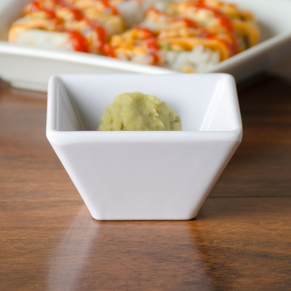 American Metalcraft MELSC20 2.4 oz. White Melamine Square Sauce Cup - 12 / Pack