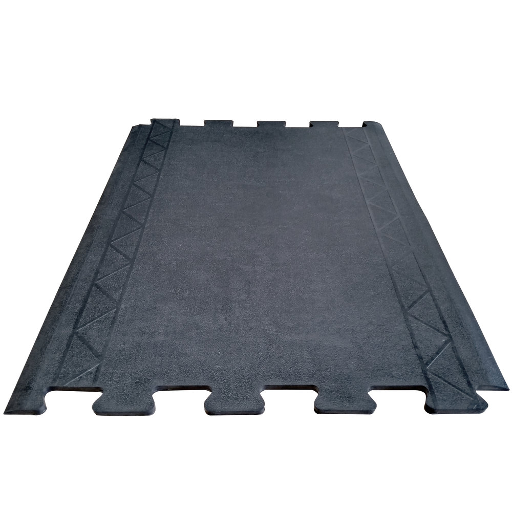 "Cactus Mat 2500-RC28 Comfort Zone 2' 4"" x 3' Black Interlocking Center Anti-Fatigue Mat - 1/2"" Thick"