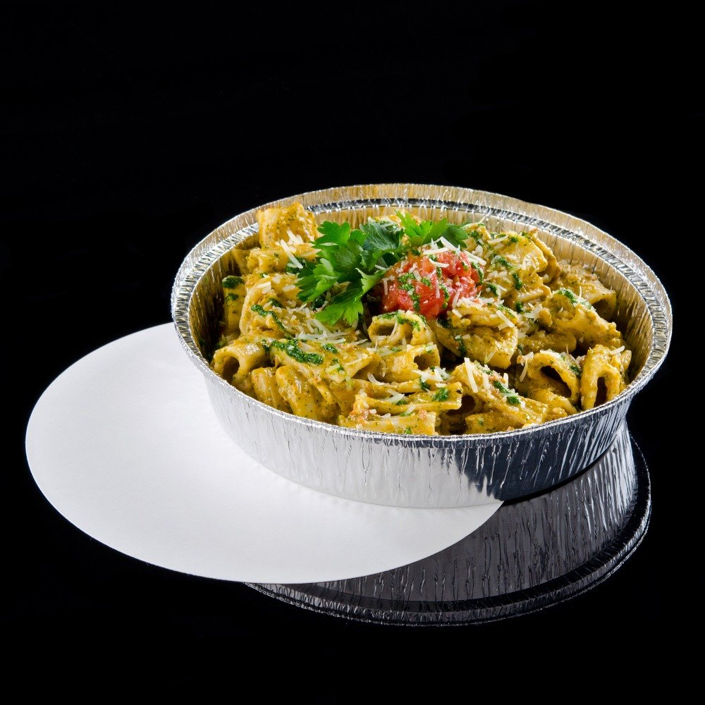 "8"" Round Foil Take Out Pan with Board Lid - 200 / Case"