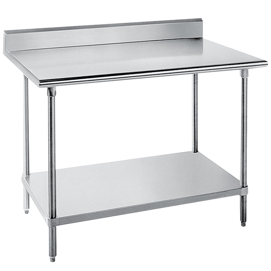 "Advance Tabco KLG-304 30"" x 48"" 14 Gauge Work Table with Galvanized Undershelf and 5"" Backsplash"