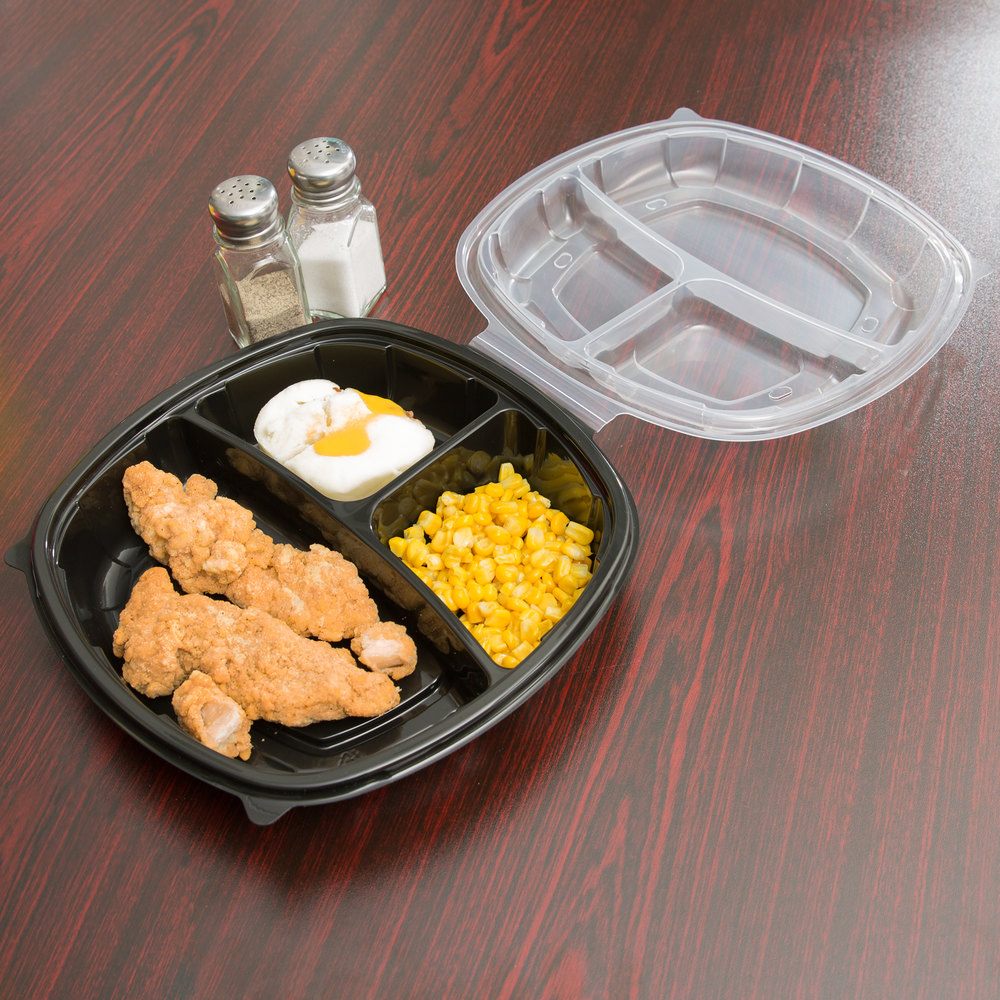 "10"" x 10"" x 3"" Large 3 Compartment Microwaveable Plastic Hinged Take-Out Container - 148/Case"