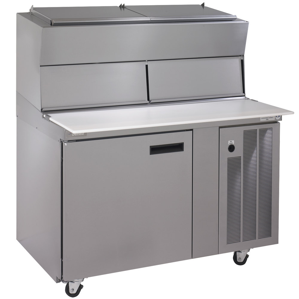 "Delfield 18648PDL 48"" One Door Refrigerated Pizza Prep Table with Dual LiquiTec Raised Rails"