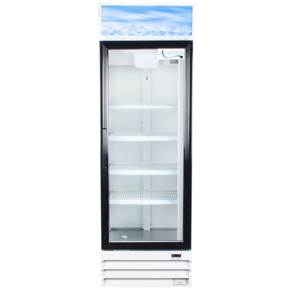 "Avantco GDC15 26"" Swing Glass Door White Merchandiser Refrigerator"