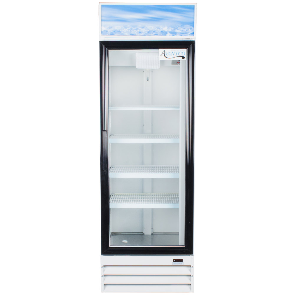 "Avantco GDC15 26"" Swing Glass Door White Merchandiser Refrigerator with LED Lighting"