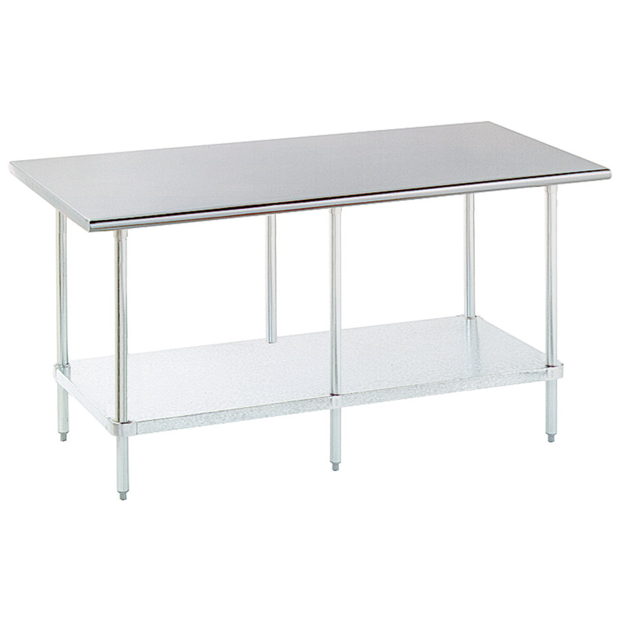 "Advance Tabco ELAG-308-X 30"" x 96"" 16 Gauge Stainless Steel Work Table with Galvanized Undershelf"