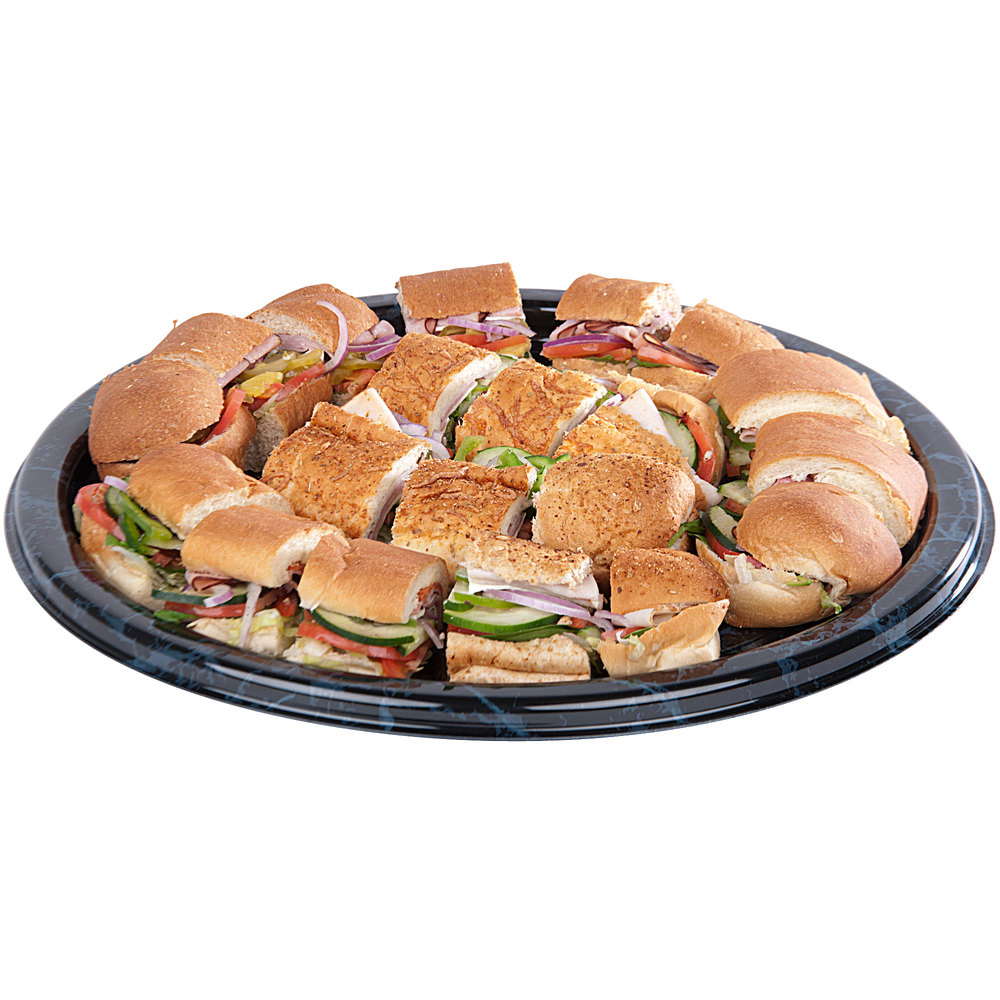 "Sabert 818 18"" Black Marble Round Catering Tray - 3/Pack"