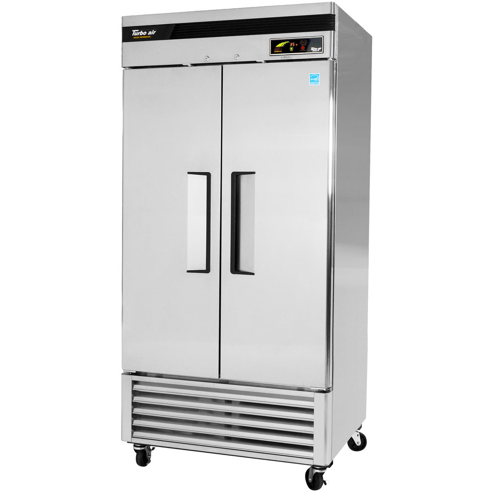 "Turbo Air TSR-35SD 40"" Super Deluxe Two Section Solid Door Reach in Refrigerator - 35 Cu. Ft."