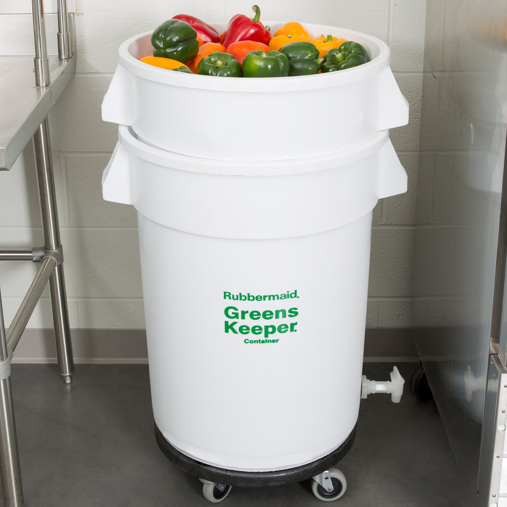 Rubbermaid 2636 Brute GreensKeeper 32 Gallon Vegetable Crisper Container with Lid and Dolly (FG263600WHT)