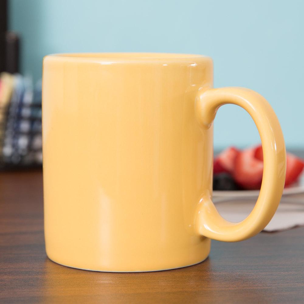 tuxton bsm 1202 duratux 12 oz saffron china c handle mug 24 case