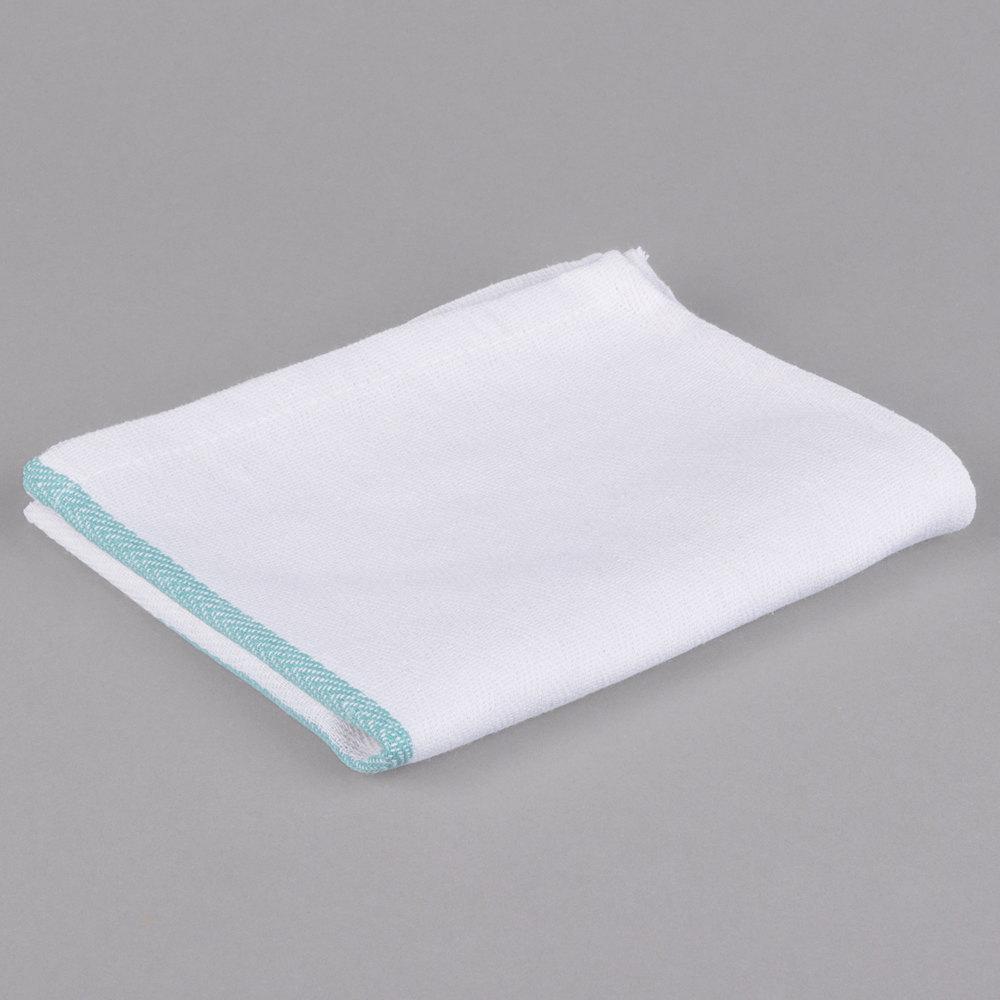 "Chef Revival 15"" x 26"" Green Striped Herringbone 100% Cotton Dish Towel - 12/Pack"