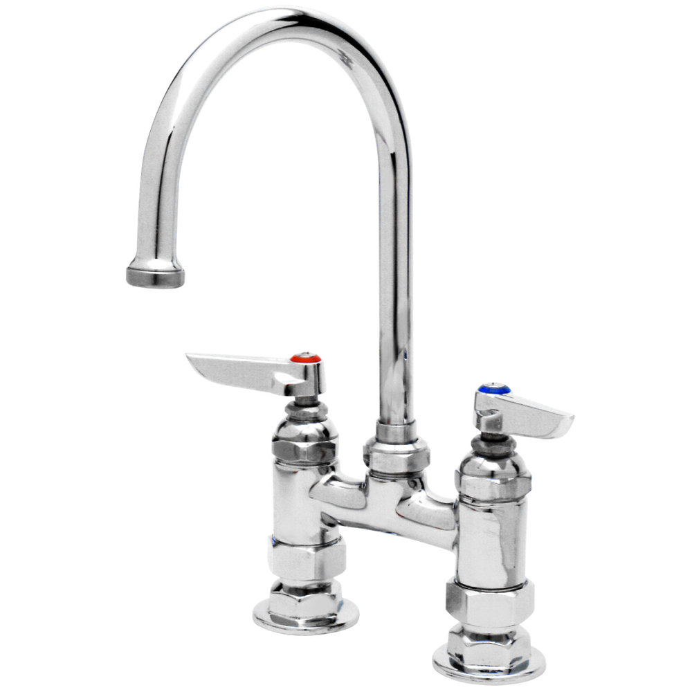 "13 1/2"" T&S B-0325 Deck Mounted Swivel Gooseneck Faucet with 4"" Centers"
