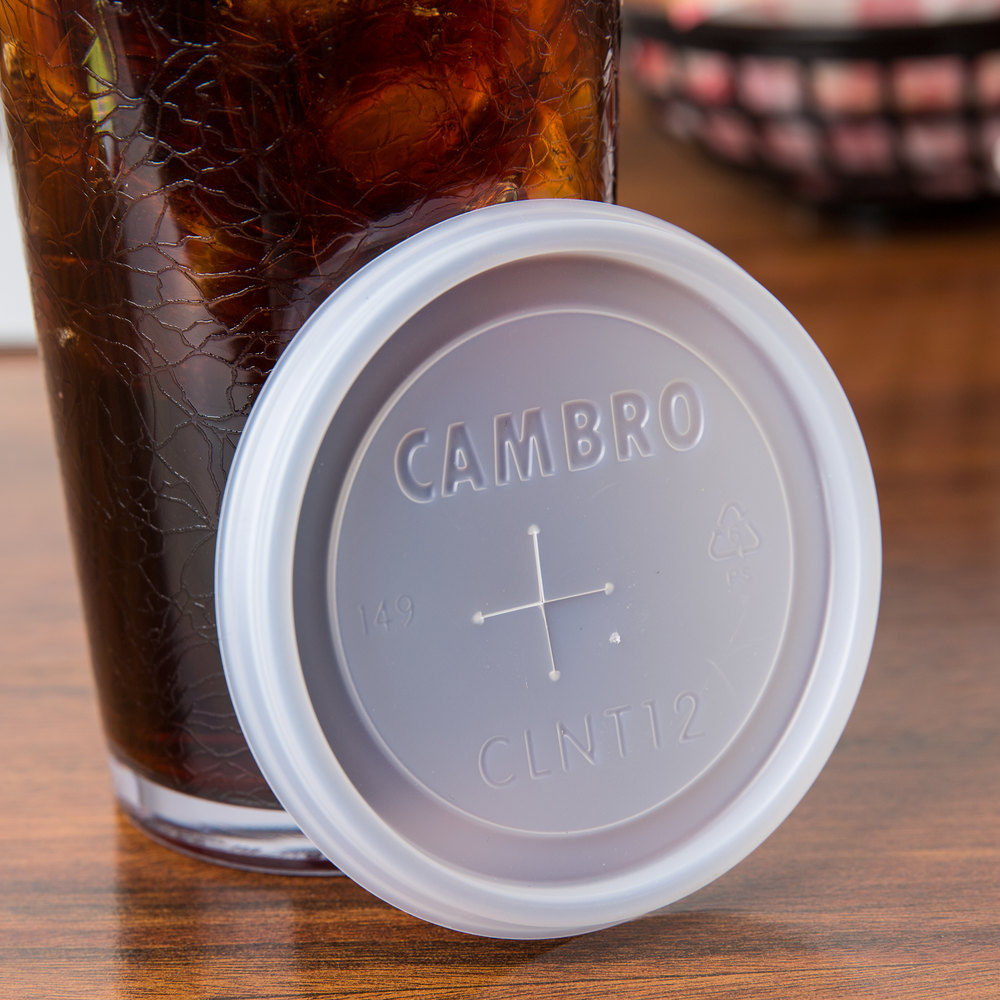 Cambro CLNT12 Disposable Translucent Lid with Straw Slot for 12 oz. Tumblers - 1000/Case