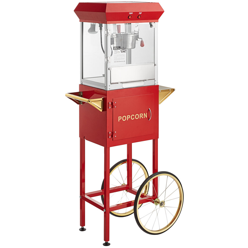 Carnival King Popcorn Popper Starter Kit with 4 oz. Popper, Cart, and Supplies