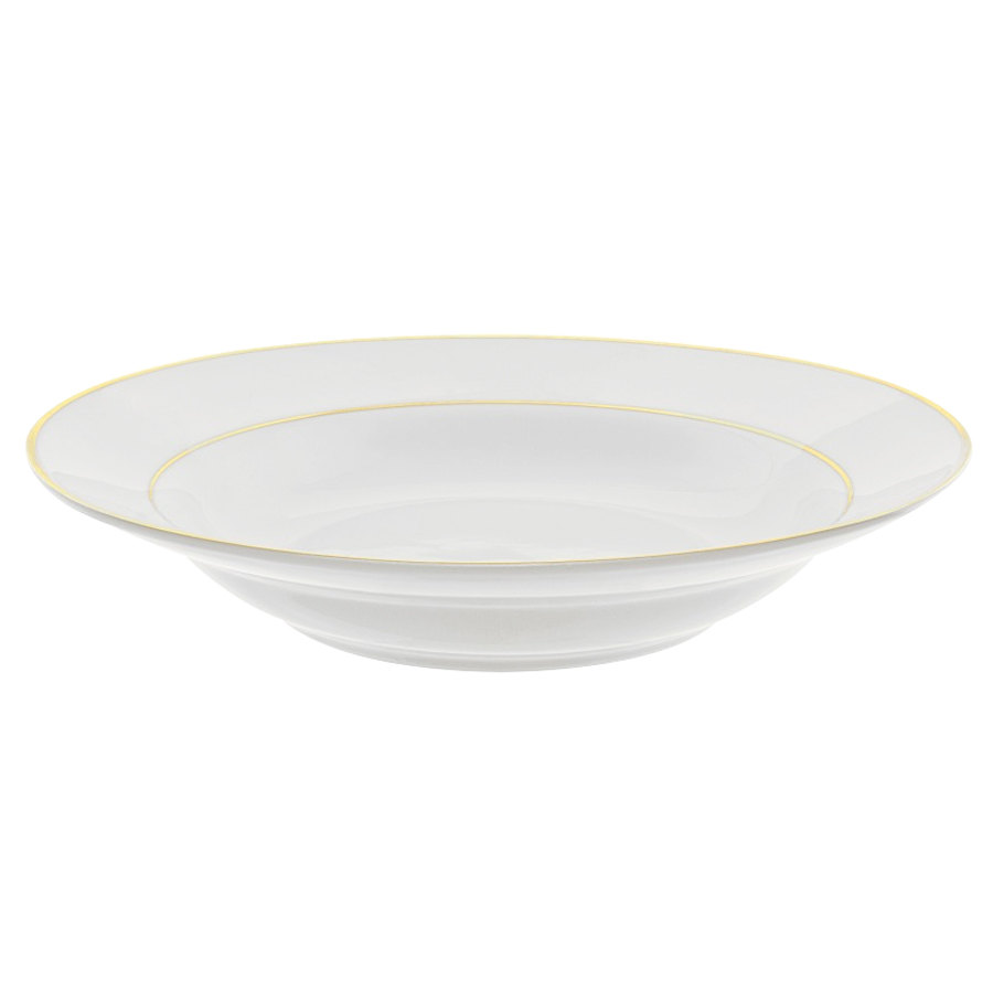 "10 Strawberry Street GLD0003 9"" 10 oz. Double Line Gold Soup Bowl - 24/Case"