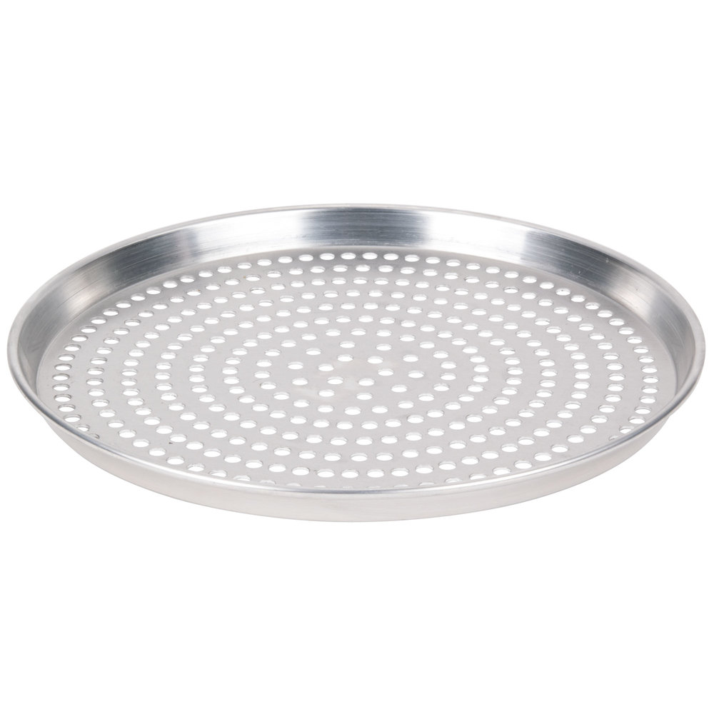 "American Metalcraft HADEP14SP 14"" x 1"" Deep Dish Tapered Super Perforated Pizza Pan - Heavy Weight Aluminum"