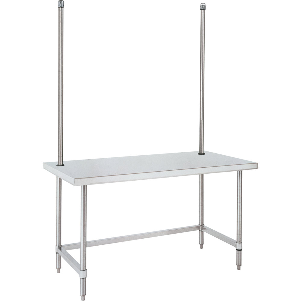 "14 Gauge Metro WTC307US 30"" x 72"" HD Super Open Base Stainless Steel Work Table with Overhead"