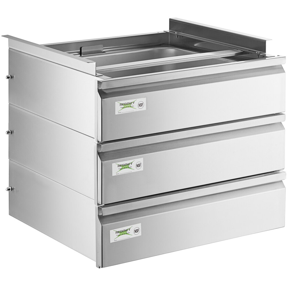 Regency 20 inch x 20 inch x 5 inch Triple-Stacked Drawer Set with Stainless Steel Front
