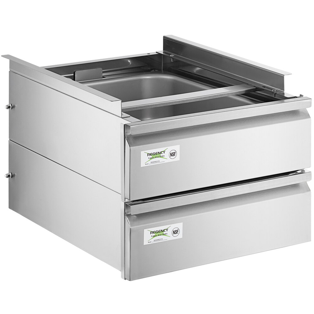 Regency 20 inch x 15 inch x 5 inch Double-Stacked Drawer Set with Stainless Steel Front