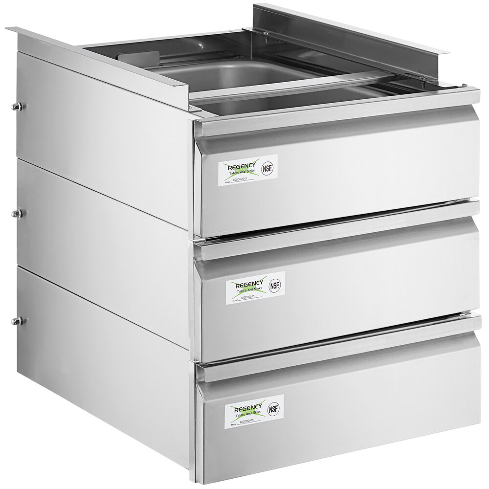 Regency 20 inch x 15 inch x 5 inch Triple-Stacked Drawer Set with Stainless Steel Front