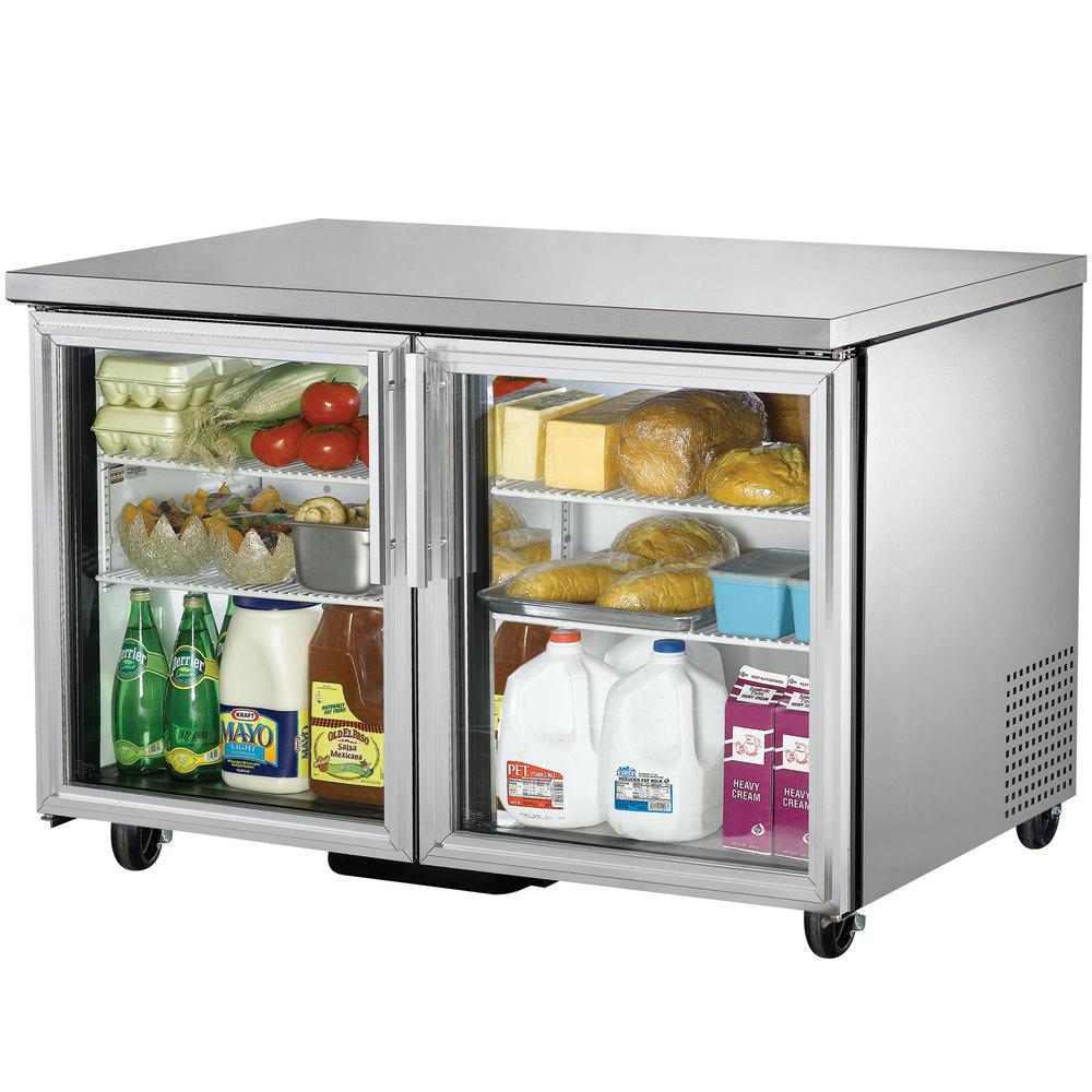 True tuc 48g hc ld 48 undercounter refrigerator with - Glass door fridge for home ...